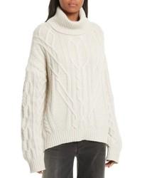 Cecil cable knit cashmere turtleneck sweater medium 4952948