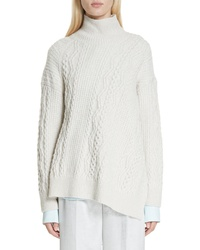 Vince Diagonal Cable Wool Blend Turtleneck Sweater