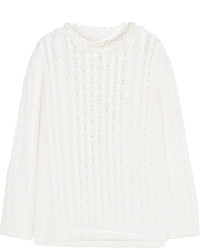 Simone Rocha Faux Pearl Embellished Cable Knit Wool Sweater