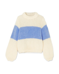 Ganni Julliard Striped Mohair And Wool Blend Sweater