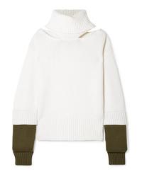 Monse Oversized Cutout Two Tone Wool Turtleneck Sweater