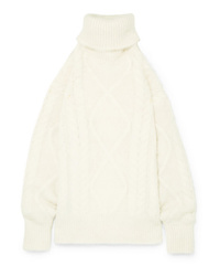 Maison Margiela Oversized Open Back Cable Knit Turtleneck Sweater