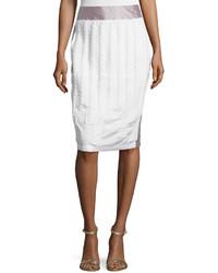 Risto Cable Stitched Insert Pencil Skirt White Poplin
