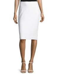 St. John Collection Clair Lace Trim Knit Pencil Skirt Bianco