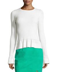 Ribbed knit peplum top white medium 3648994