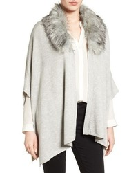 Nordstrom Knit Poncho With Faux Fur Collar