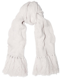 Cable knit cashmere scarf white medium 5259005
