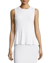 Theory Canelis Prosecco Ribbed Knit Top White