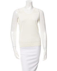 Salvatore Ferragamo Open Knit Yoke Scoop Neck Top