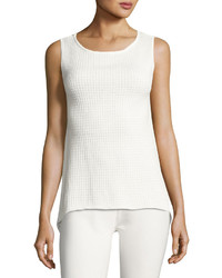 Sleeveless high low knit top off white medium 3705540
