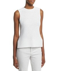 Derek Lam Sleeveless Knit High Low Top White