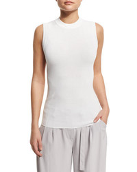 DKNY Sleeveless Knit Pullover Top White