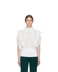 Givenchy White Perforated Sleeveless Turtleneck