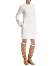 Cable knit cashmere sweater dress with pockets medium 5207912