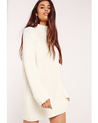 White oversized knit mini sweater dress medium 3647050