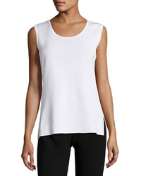 Ming Wang Scoop Neck Knit Long Tank White