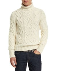 Aran cable knit fisherman turtleneck sweater ivory medium 699851