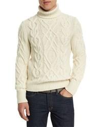 Aran cable knit fisherman turtleneck sweater ivory medium 699851