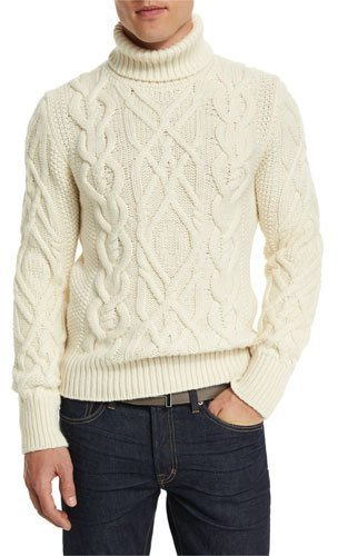 6ead688da343 ... Tom Ford Aran Cable Knit Fisherman Turtleneck Sweater Ivory ...