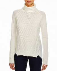 Aqua Cable High Low Turtleneck Sweater