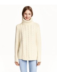 ... H M Cable Knit Turtleneck Sweater Natural White Ladies ... 74db0f836