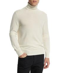 Classic flat knit cashmere turtleneck sweater ivory medium 699854