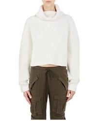 Haider Ackermann Crop Turtleneck Sweater White Ivory