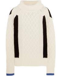 Preen Line Ellise Color Block Cable Knit Wool Blend Turtleneck Sweater Ivory