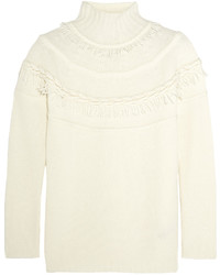 Agnona Fringed Wool And Cashmere Blend Turtleneck Sweater