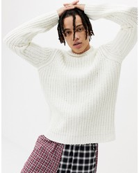 ASOS DESIGN Knitted Chenille Turtle Neck Jumper In White