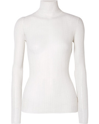 Theory Ribbed Pointelle Knit Wool Blend Turtleneck Sweater