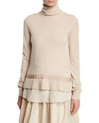 Moncler Turtleneck Shirttail Combo Knit Sweater Ivory