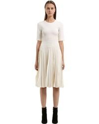 Salvatore Ferragamo Ruffled Wool Blend Knit Dress