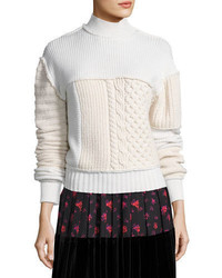 Mcq alexander mcqueen mixed cable knit turtleneck wool sweater medium 4948766
