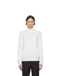 Maison Margiela White Elbow Patch Turtleneck