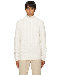 Brunello Cucinelli White Wool Cable Knit Turtleneck