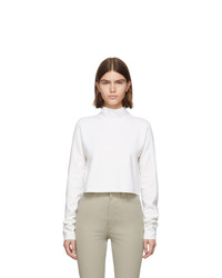 Helmut Lang White Wool Compact Turtleneck