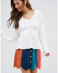 MinkPink Flare Sleeve Top With Lace Up Detail