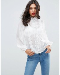 Asos High Neck Blouse With Lace Trims