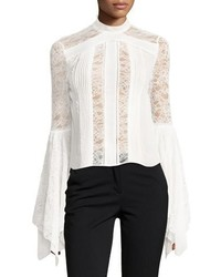 Alice + Olivia Ivy Handkerchief Sleeves Silk Lace Top