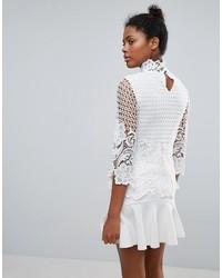 a0f04dfc67f51d Vila Lace High Neck Blouse, $54   Asos   Lookastic.com