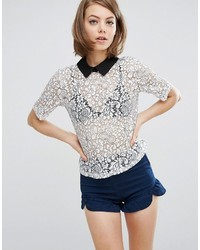 Fashion Union Lace Top With Contrast Collar