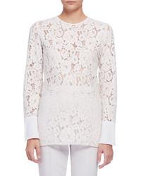 Lanvin Long Sleeve Lace Blouse Ivory