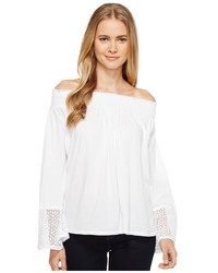 Three Dots Trellis Lace Peasant Top Clothing