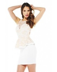 AX Paris Lace Peplum Bodycon Cream Dress Online