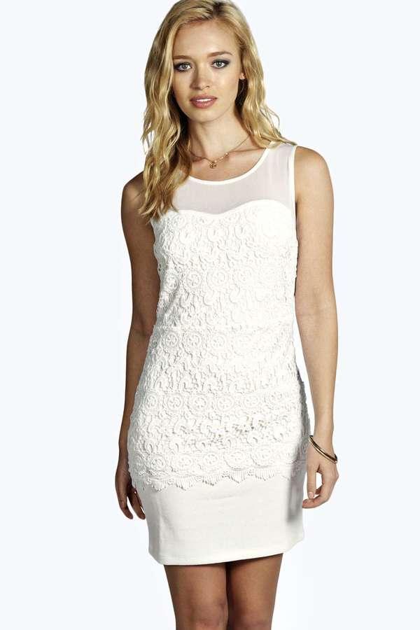 8baf29d32aec Boohoo Sia Crochet Bodycon Dress, $46 | BooHoo | Lookastic.com