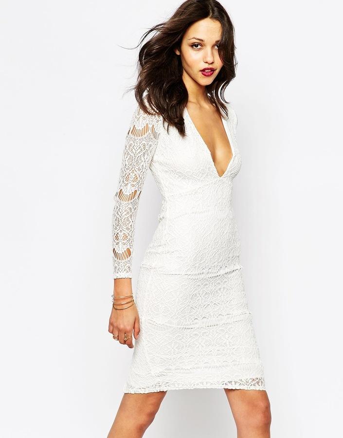 44 Boohoo White Lace Plunge Neck Midi Dress