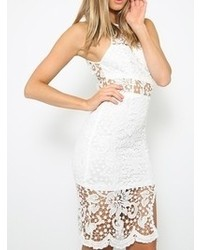 Choies Lace Me Up Bodycon Dress In White