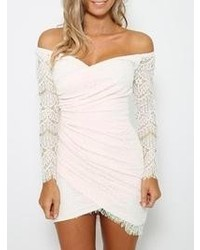 Choies Sweet Thing Off Shoulder Dress In White