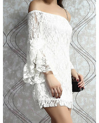 01ab159d4a26 Choies White Off Shoulder Lace Bodycon Dress With Flare Sleeve, $39 ...